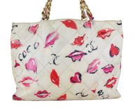 CHANEL Vintage Coated Canvas Quilted Lips and Kisses Graffiti XL