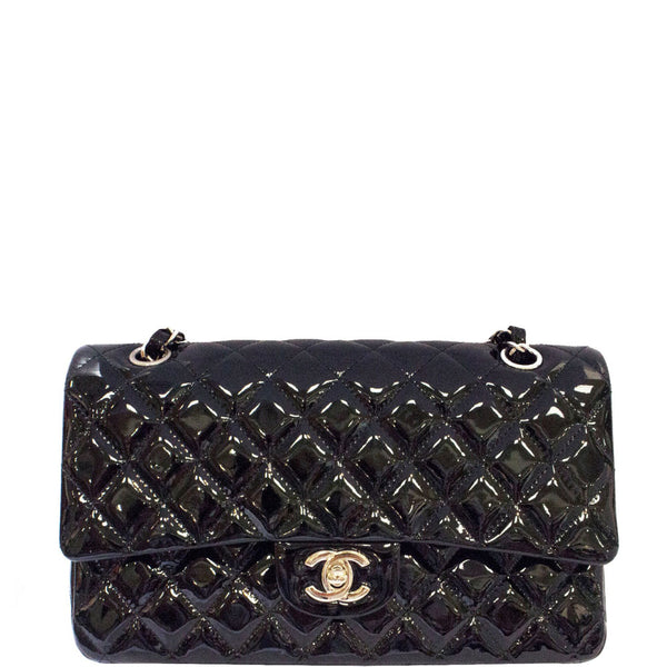 627c3e626dac CHANEL Black Quilted Patent Leather Classic Medium Double Flap Bag ...