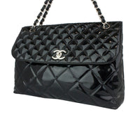 Chanel Quilted Jumbo Flap Black Patent Leather Shoulder Bag