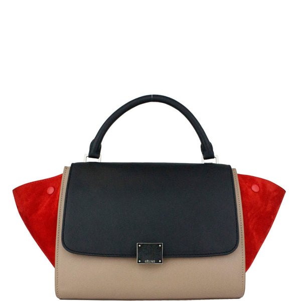 Celine Tri-color Smooth Leather and Suedu Trapeze Bag