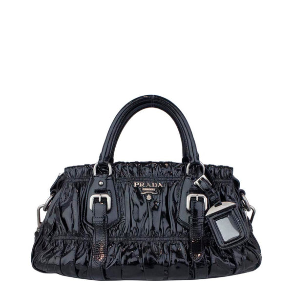 Prada Black Patent Leather Gauffre Ruched Medium Shopping Bag
