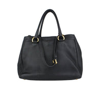 PRADA Black Vitello Daino Leather Tote Bag