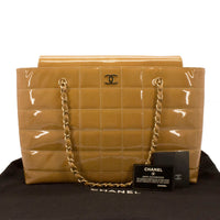 Chanel Beige Patent Chocolate Bar Quilted Camera Tote Shopper Bag