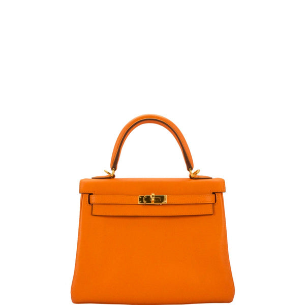 Hermes Orange Kelly 25 Swift Leather Bag