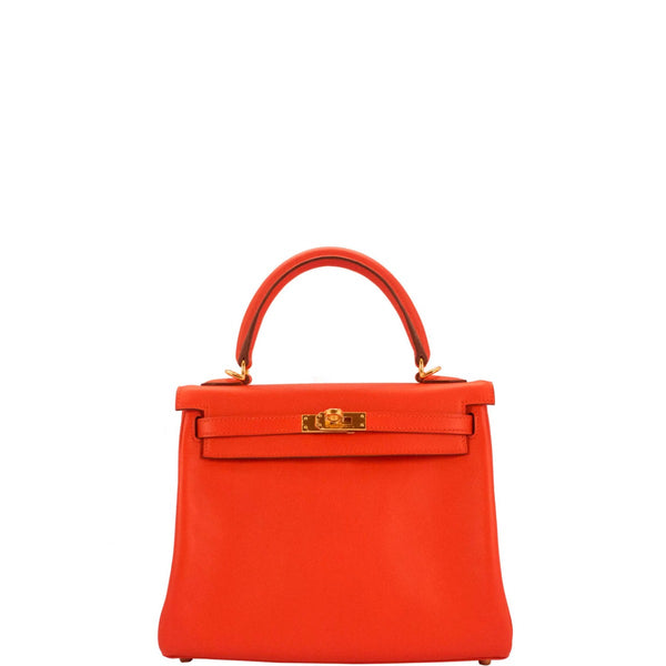 Hermes Kelly 25. Rouge Tomato Swift in Gold hardware