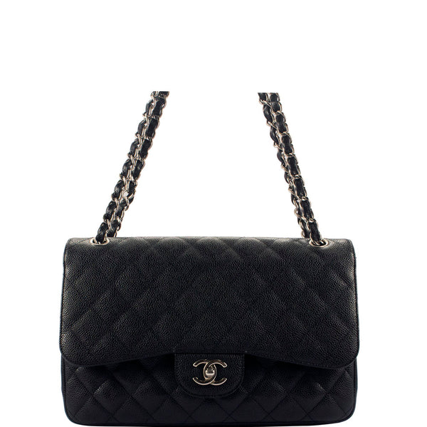 e33fc9d1f764 CHANEL Black Quilted Caviar Leather Jumbo Classic double Flap Bag ...