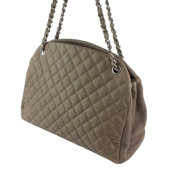 a96d0133527ae2 ... CHANEL Taupe Quilted Caviar Leather Large Just Mademoiselle Bowling Bag  ...