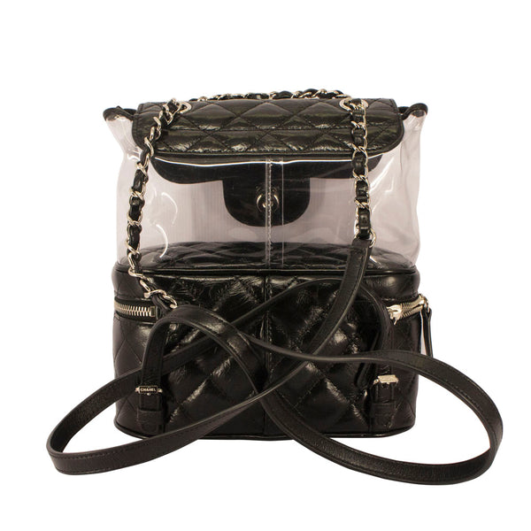 bb5f559fd1118f CHANEL Crumpled Calfskin PVC Quilted Backpack Black – Vetoben
