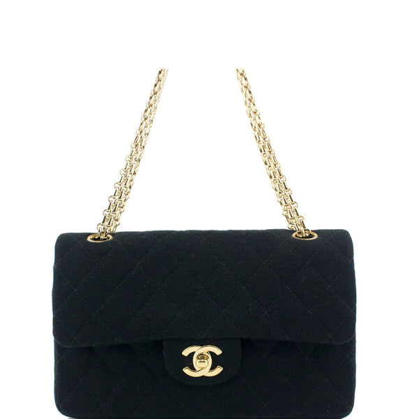 Chanel Black Classic Fabric Double Flap Bag