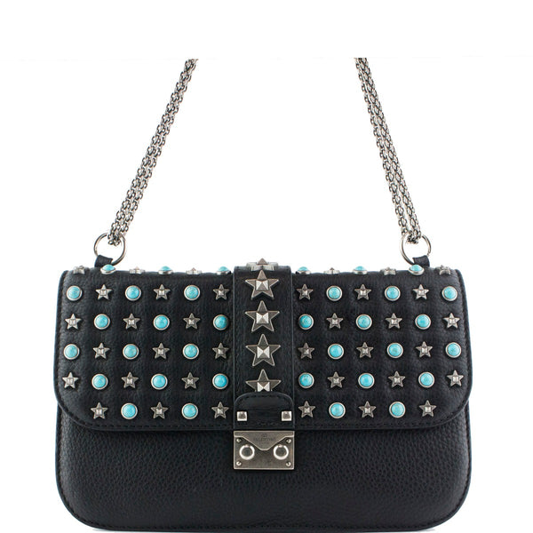 VALENTINO Pebbled Calfskin Medium Lock Star Studded Flap Black