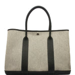 HERMES BLACK & BEIGE TOILE CANVAS GARDEN PARTY TOTE