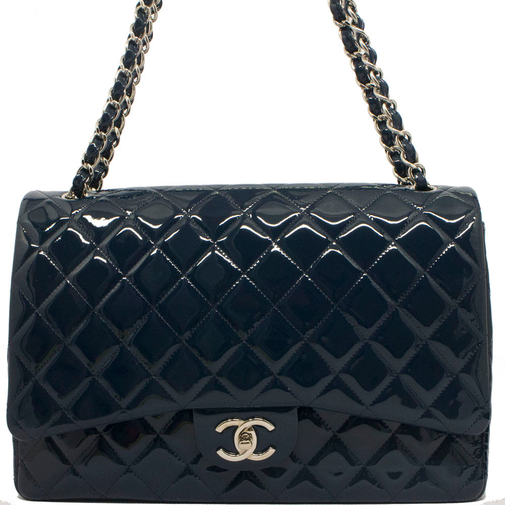 6a40648dcdfc33 Chanel Navy Blue Quilted Patent Leather Maxi double Flap Bag – Vetoben
