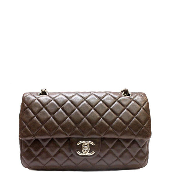 fecd60a74b87 CHANEL Light Brown Quilted Caviar Leather Medium Classic Double Flap ...