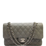 CHANEL Gray Quilted Double Flap Shoulder Bag