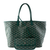 Goyard Chevron Goyardine St Louis with Pouch 231311 Green Coated Canvas Tote