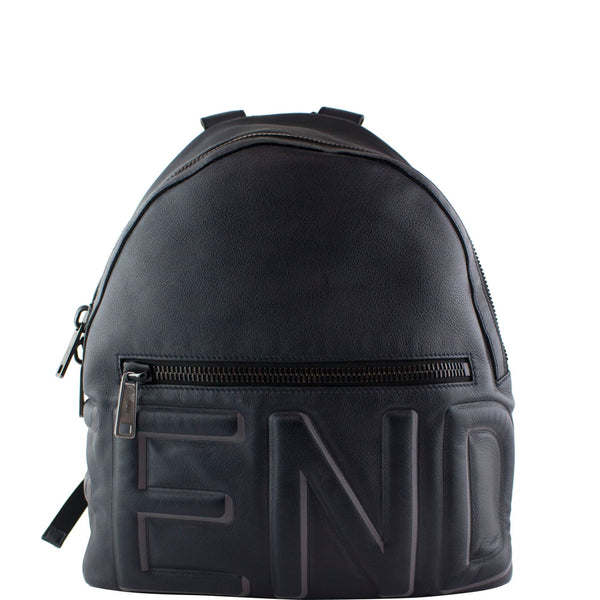 Fendi Calfskin Embossed Logo Backpack Night Blue