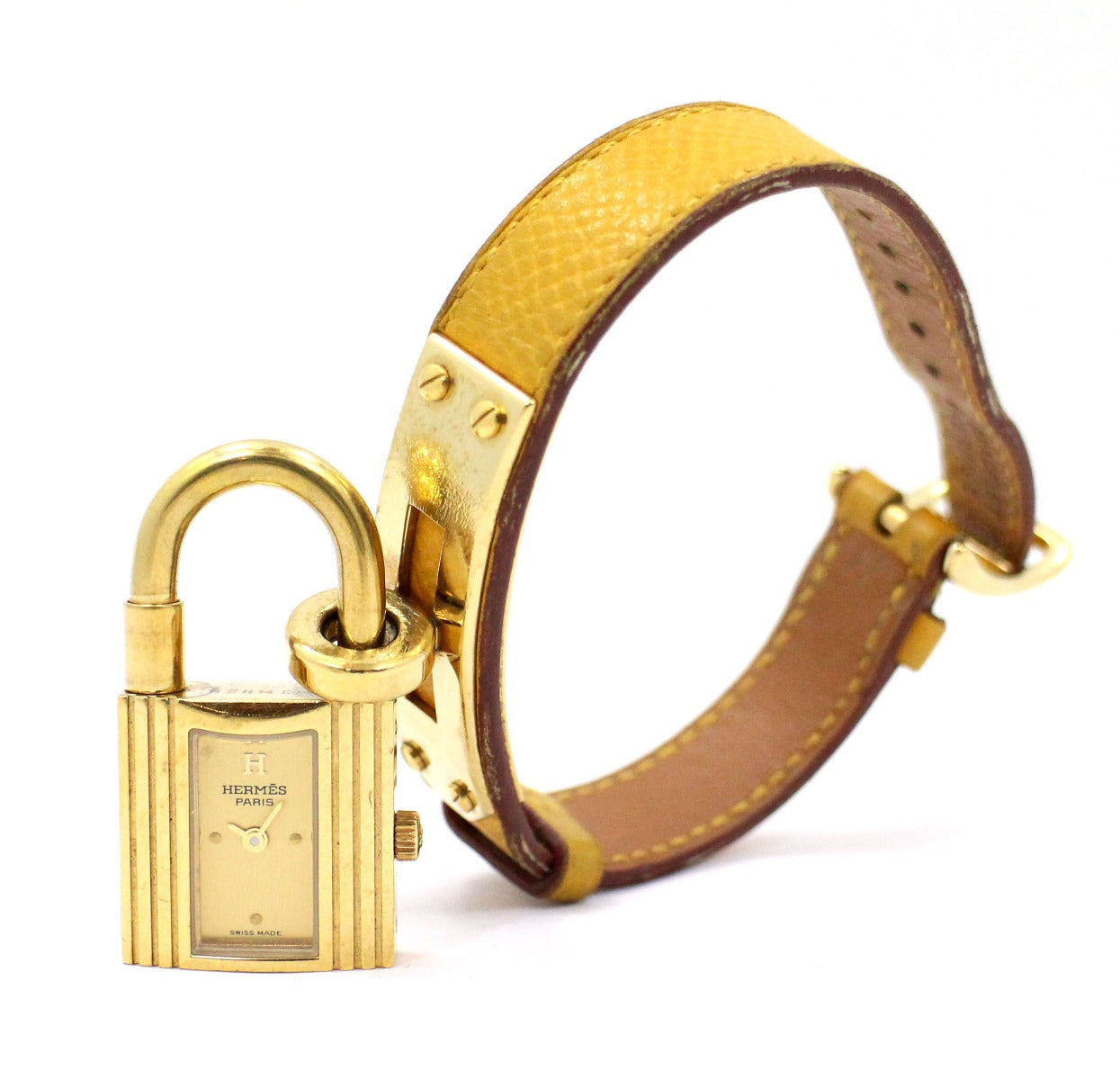 HERMES KELLY WATCH Yellow CALFSKIN STRAP