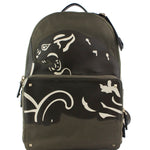 Valentino With Applique Large Olive Green Canvas Backpack