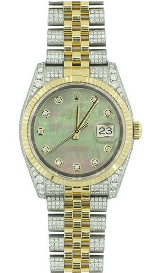 Rolex date just 36mm full diamonds seting
