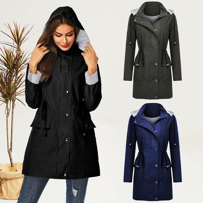Women Hooded Drawstring Coat