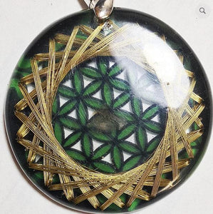 Flower of Life Green 21 Golden Vortex EMF Protection