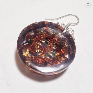 Flower of life 12 Vortex Earrings EMF Protection