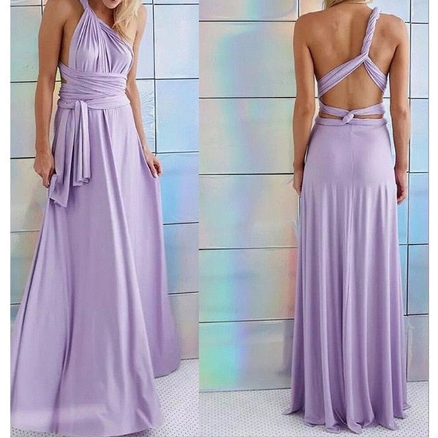 Women Multi-way Wrap Convertible Party Long Dress
