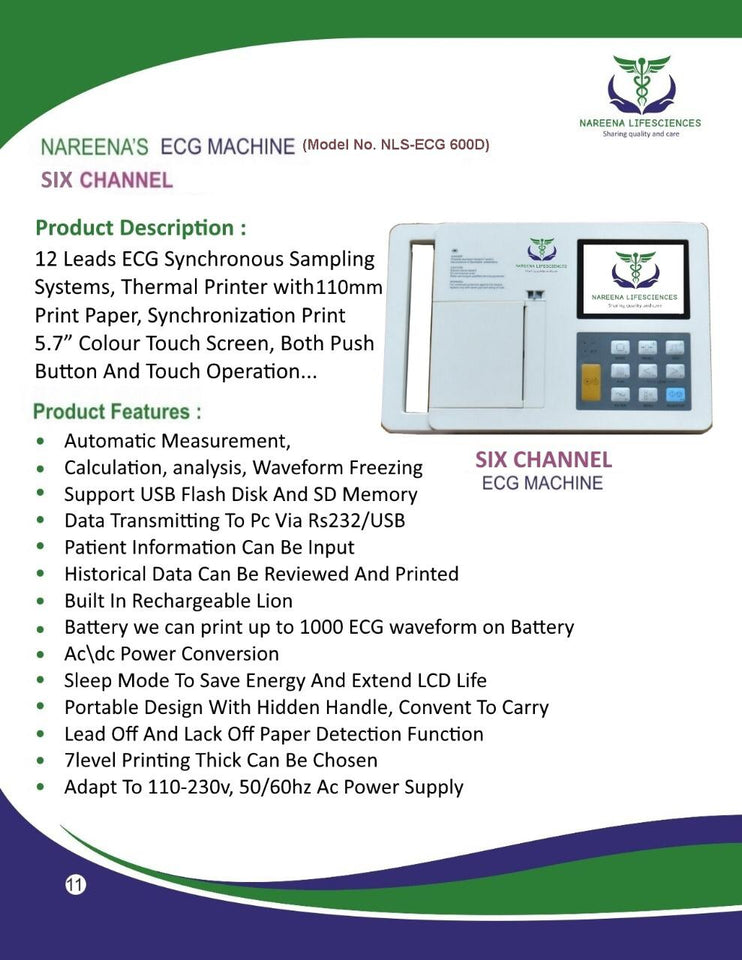 Nareena ECG Machine - Six Channels