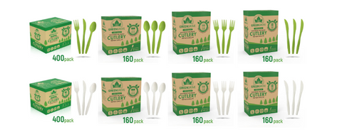 Greengrove compostable cutlery sets best compostable cutlery usa green cutlery and ecofriendly utensils in white and green available in different box sizes