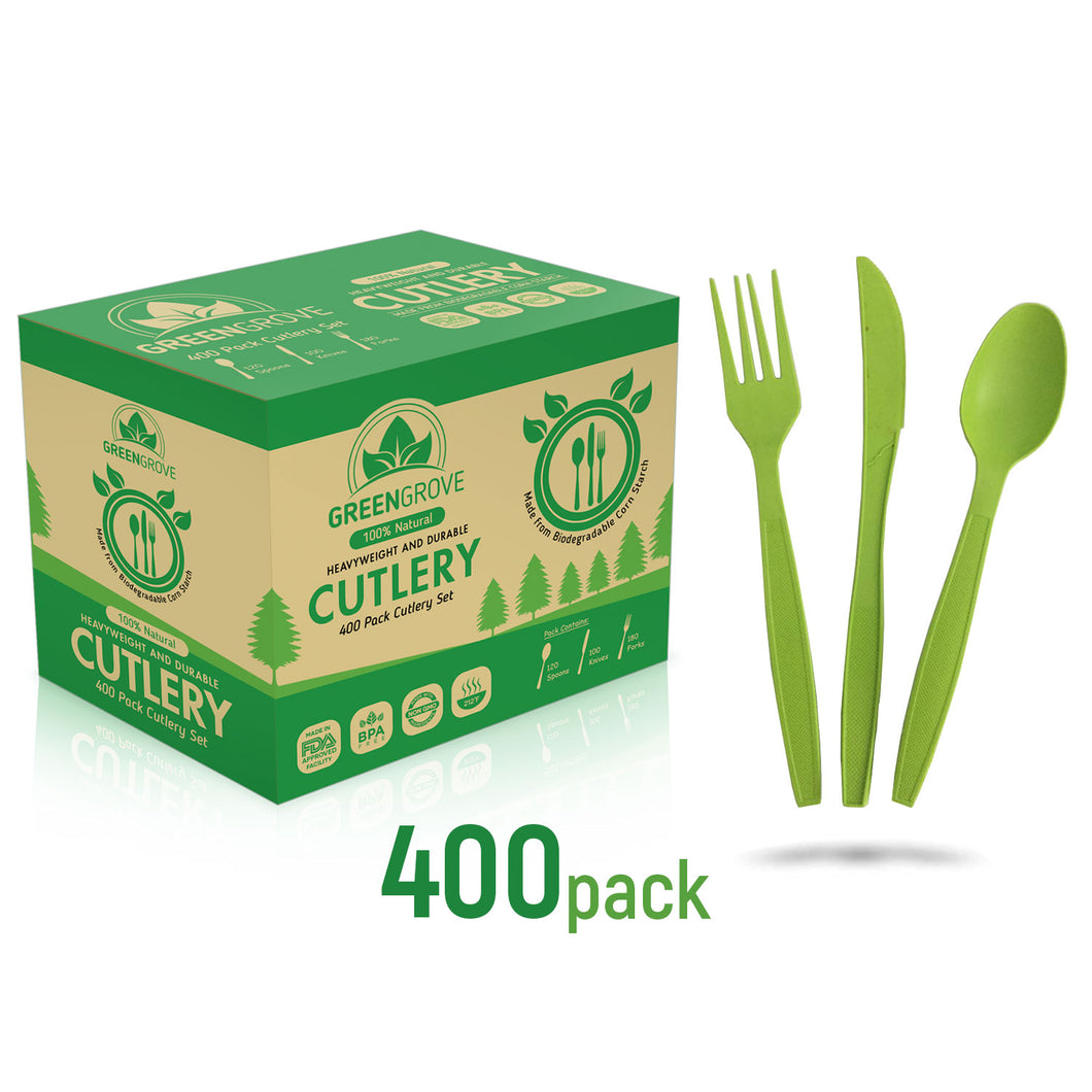100% Compostable cutlery 400 pack | Containing 180 Compostable forks, 120 Compostable spoons and 100 Compostable knives in Green | best biodegradable utensils usa