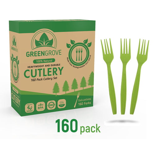 Compostable Plastic Forks | Biodegradable forks in Green | Greengrove Compostables Biodegradable cutlery box of forks 160 pack