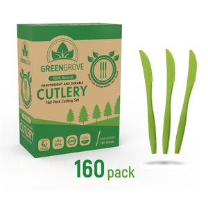 Compostable Plastic Knives | Green Biodegradable Knives from Greengrove Compostables | Best biodegradable cutlery