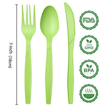 Load image into Gallery viewer, Green cutlery size sheet | Compostable forks spoons knives in Green | best biodegradable utensils | Ecofriendly cutlery from Greengrove Compostables