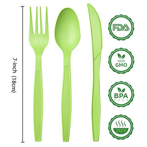 Green cutlery size sheet | Compostable forks spoons knives in Green | best biodegradable utensils | Ecofriendly cutlery from Greengrove Compostables