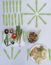 Load image into Gallery viewer, Green Compostable Forks | Stunning Green biodegradable utensils by Greengrove pefect for weddings and events. Best biodegradable cutlery.