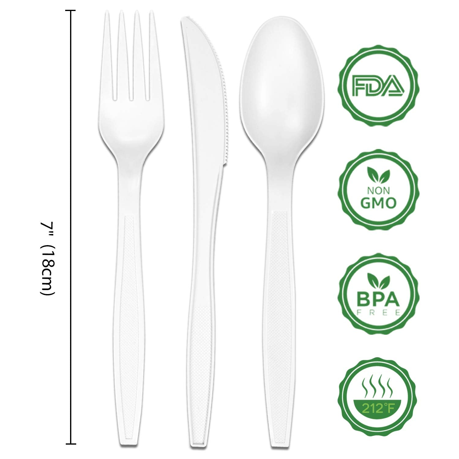 EverGreen Plastic Forks 750 Pieces 6 Inch White Individually Wrapped Compostable