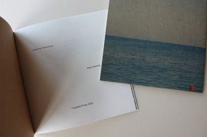 Book, first page and back cover. Sea, blue, paper.