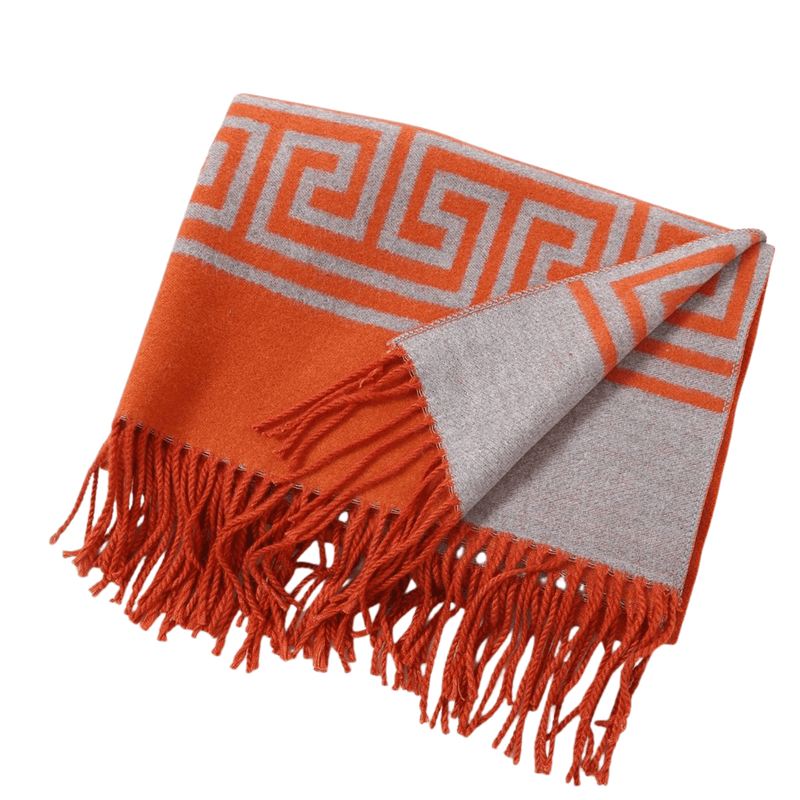 Orange & Grey Greek Key Scarf