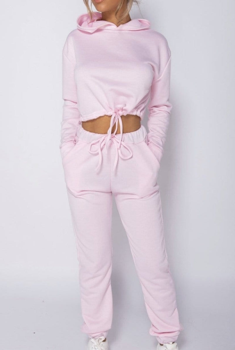 Lily Cropped Tracksuit Pink