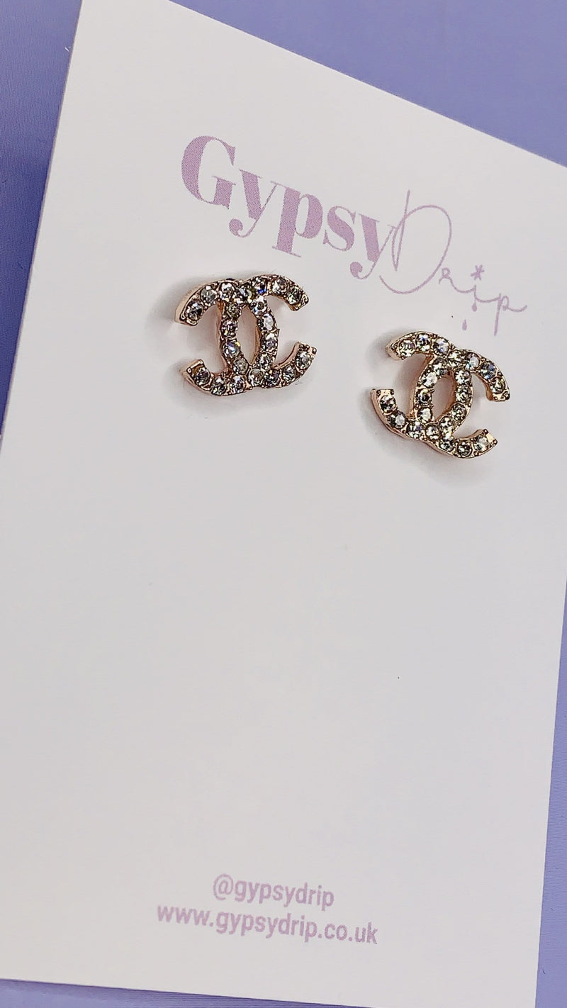 Rose Gold Crystal C Studs
