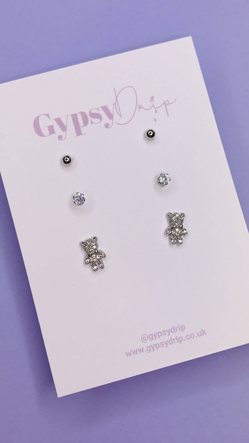 Silver Teddy Stud Set