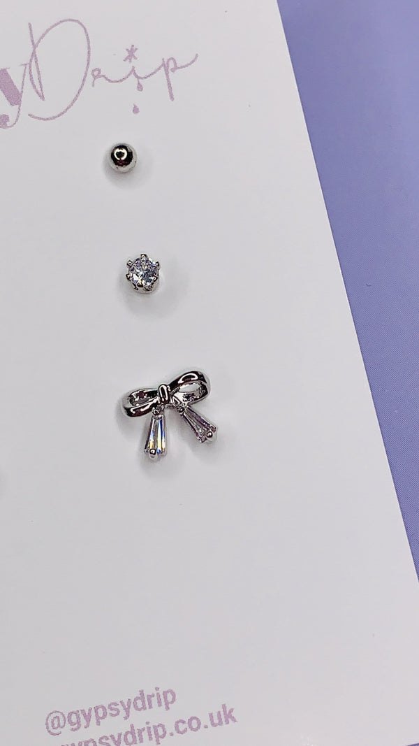 Crystal Bow Stud Set