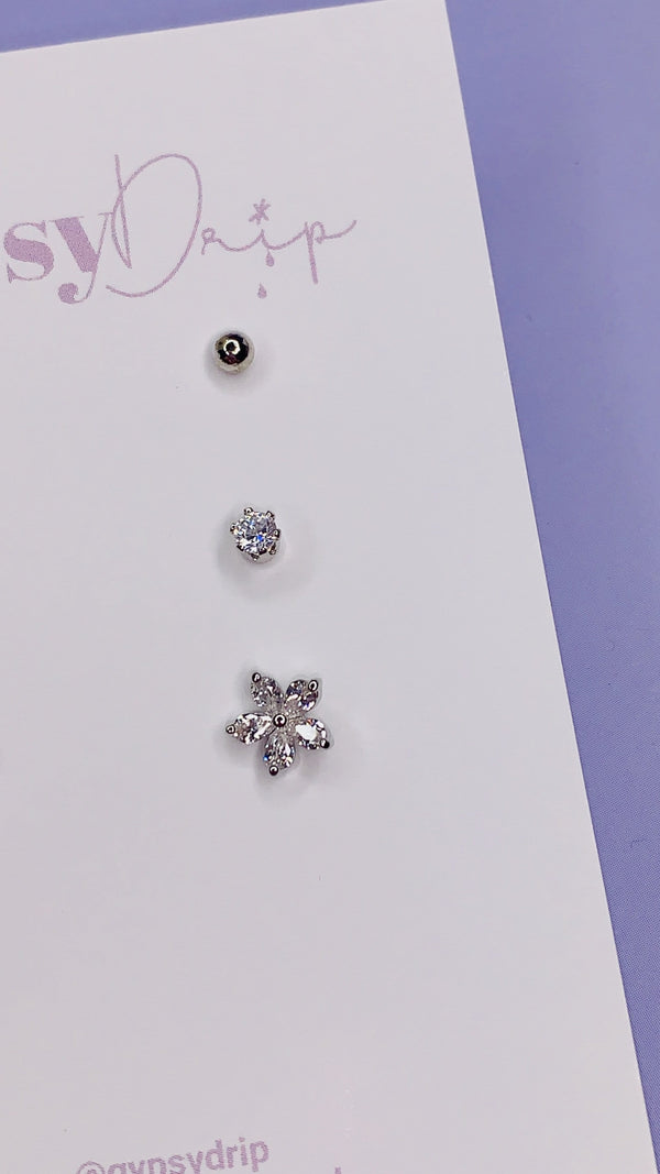 Crystal Flower Stud Set