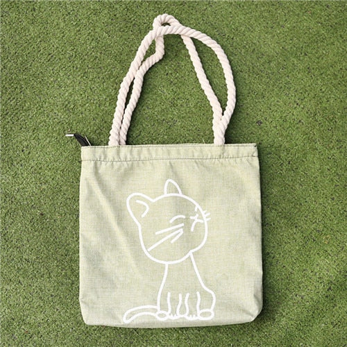 Canvas Tote Print Lady Bag