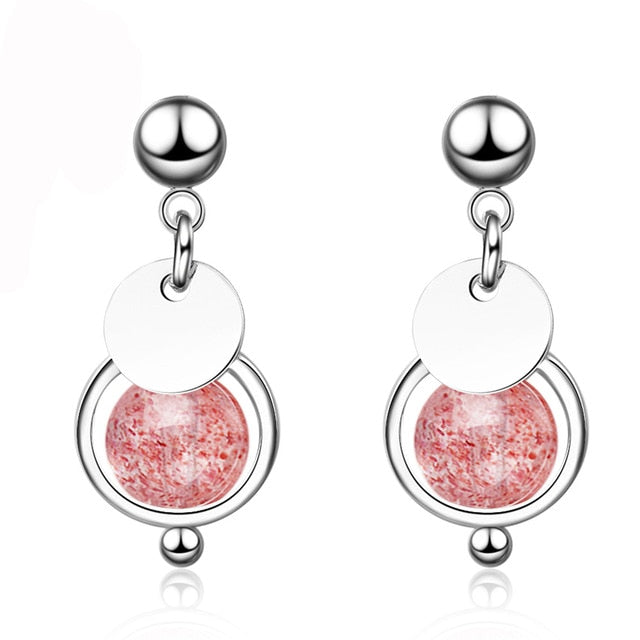 Strawberry Crystal Silver Earrings