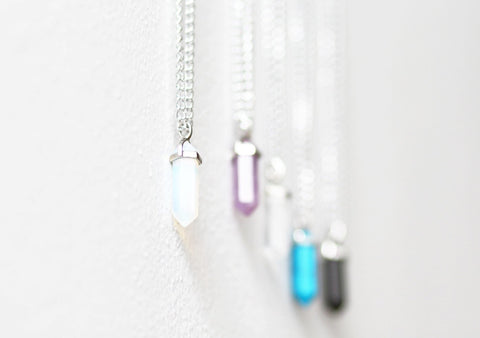 opal crystal silver necklace