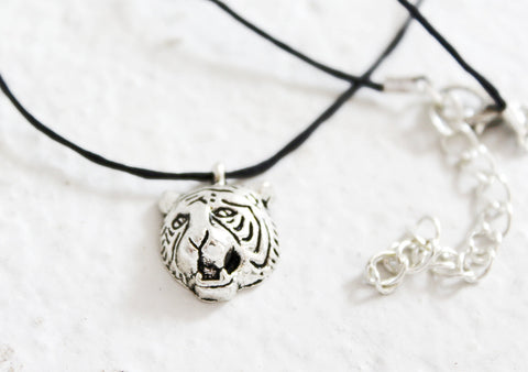 silver tiger head necklace