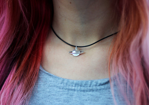 tumblr space saturn necklace