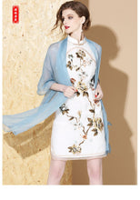 Load image into Gallery viewer, Silk White Short Qipao Cheongsam