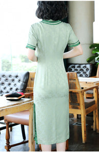 Real Silk Noble Green Qipao Cheongsam